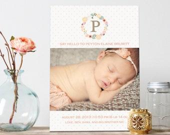 Vintage Floral Girl Baby Announcement - Floral Wreath Baby Birth Announcement - Say Hello Girl Birth Announcement