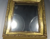 Mirror - Small Decorative Mirror with Gold Tone Wood Frame with Designs and Scrolls