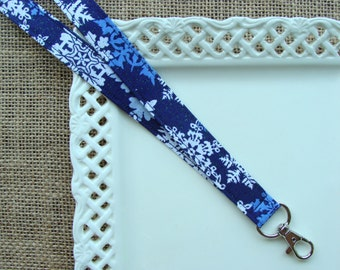 Fabric Lanyard Badge ID -  Large Snowflakes on Navy Blue