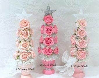 Christmas Decoration, Shabby Pink Tree, Christmas Tree, Table Top Tree, Holiday Decoration, Mini Christmas Tree, Shabby Cottage Chic Tree