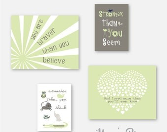 Baby Boy Nursery Art, green decor, wall art for boys, Green art, Pooh Quote print, You Are Braver than You Believe, gift for boy YassisPlace