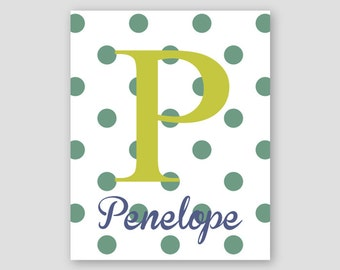 Personalized Print, Polka Dot Print, Letter Initial, Baby Girl Nursery Decor, Personalized Nursery Wall Art ,Monogram, customized gift