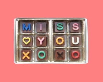 Long Distance Relationship Boyfriend Gift Men Women Girlfriend Gift Anniversary Gift Him Her Miss You XOXO Jelly Bean Chocolate Cube