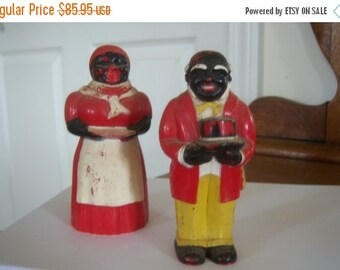 Vintage Large Aunt Jemima and Mose Americana Figurines New Orleans Red Black Home Decor Kitchen