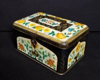 SALE Antique Candy Tin Box Metal Art Deco 1930s Yellow Black Floral Collectibles Home Decor