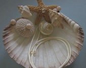 Seashell Ring Bearer Pillow with Starfish and Shells / Beach Wedding / Coastal Wedding