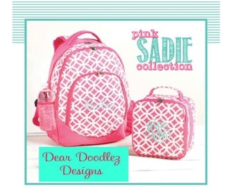 Personalized Monogrammed Embroidered Sadie Backpack, Lunch bag, Preschool Pack