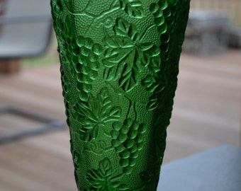 Green Glass Octagon Grape Patterned Vase