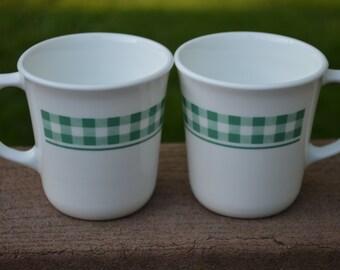 2 Gingham Hunter Green Coffee Mugs by Corning