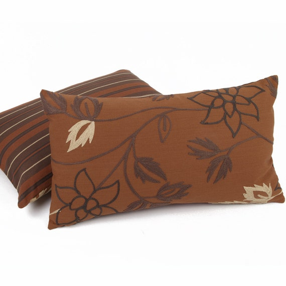 Embroidered rust leaf throw pillow by