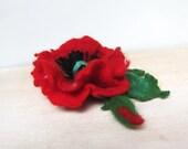 Felt Flowers Brooch , Red Felt Brooch, Red Poppy Brooch, Flower Brooch and Hair Clip Large Poppy Brooch