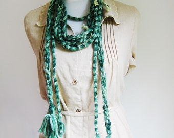Two Ombre Green Scarves Necklaces Knit Braided Plait Tassels Necklace Scarf Men Women Gift for Her Gift for Him
