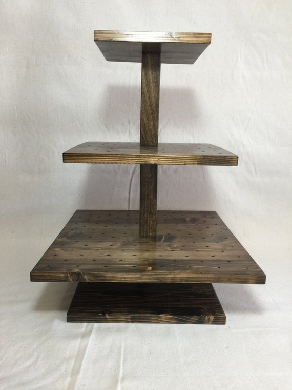 Tier square custom made solid wood cake pop stand holds