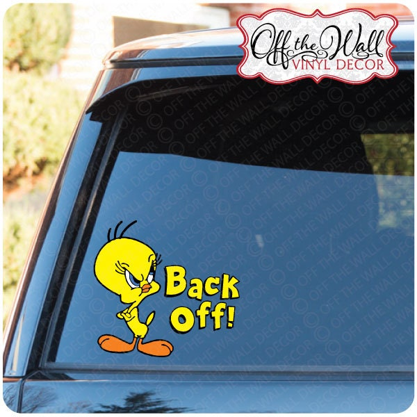 tweety bird back off vinyl car decal sticker. Black Bedroom Furniture Sets. Home Design Ideas