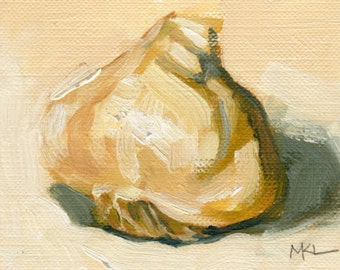 ACEO Original Oil Painting, Garlic, Kitchen Decor, Food Art by Marlene Lee