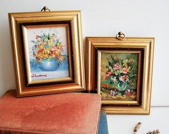 Set of Two Vintage Floral Oil Paintings, Small Framed Original Wall Hanging Miniatures
