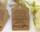 50 Personalized Printed LITTLE jar of COCOA  FAVOR Tags