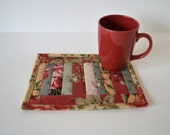 Quilted Mug Rug, Quilted Cotton coasters,  coworker gift, Mini Placemat, Mug Mat