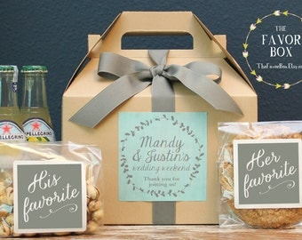 Set of 6 Out of Town Guest Box // Wedding Welcome Bag //