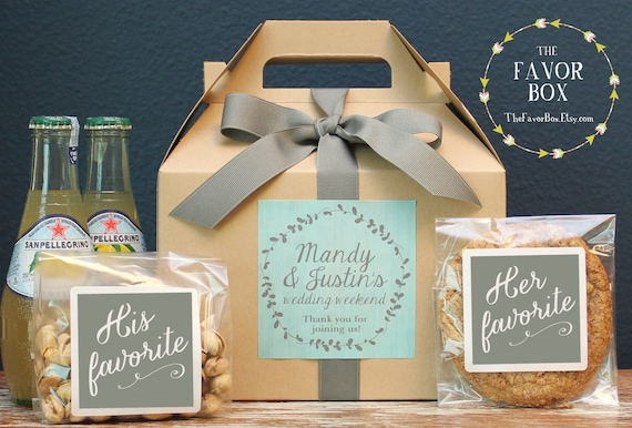 Wedding Gift Etiquette Out Of Town Guests : Set of 6 - Out of Town Guest Box // Wedding Welcome Box // Wedding ...