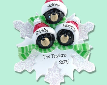 Black Bear Family of 3 on Snowflake Hand Painted RESIN Personalized Christmas Ornament