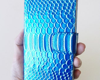 Apple iPhone 6 6s Plus Aqua Blue Shiny Patent Leather mermaid Fish scale Wallet Purse Credit Card Hard Case Cover