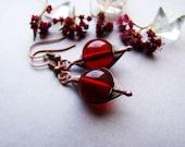 SALE Red Wings Earrings, Dark Red Dangle Earrings, Bohemian, Rustic Red Copper Earrings