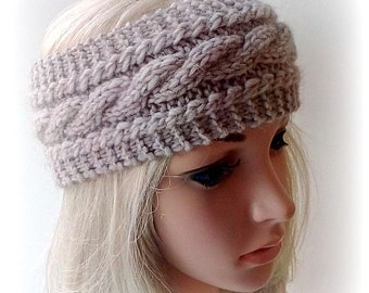 Beige Handmade Knitted Headband,  Headwrap, Earwarmer Cable Pattern Fall, Autumn,Winter Accessorie