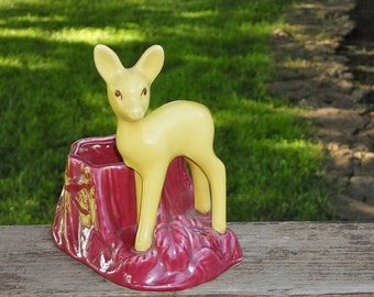 Deer Planter Tree Stump USA 624 Yellow Ceramic Vintage Indoor Outdoor Home Decor