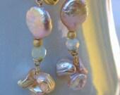Blue Peruvian Opal Earrings Pink Coin Pearl Earrings Natural Opal Lavender Coin Pearl Earings 14k Gold Earrings SCALLOP SHELL by Moonsnail