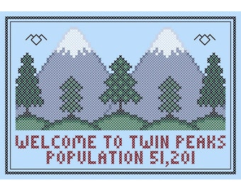Original WELCOME to TWIN PEAKS Lodge-Style Cross Stitch Chart