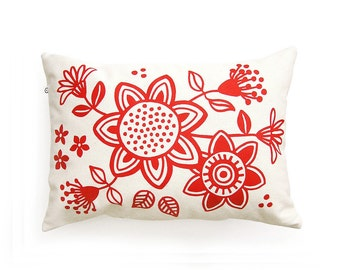 Red Accent pillow with Floral print. Throw pillow with Insert included · Screenprint Decorative Pillow · Cotton pillow cover · Home decor