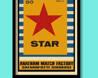 Indian matchbox label print. Star poster . A3 size. Vintage label art. Matchbox label print . Bright star. Indian prints.