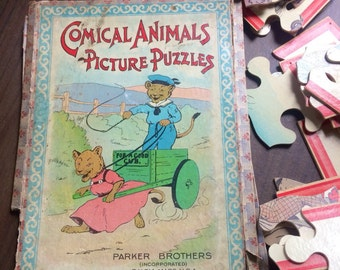Vintage Picture Puzzle Parker Brothers Comical Animals set of 3