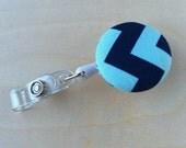 Retractable Badge Reel Holder - Aqua Navy Chevron