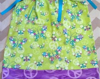 Ready to ship - Pillowcase Dress - 2 3 toddler 5 6 7 8 9 10 Years - Peace and butterflies