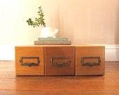 Organization Station.,,,  Wood Three Drawer Card Catalog File, Dewey Decimal, Library, Card File