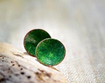 Enamel stud earrings - round post earrings - small green earrings - enamel jewelry by Alery