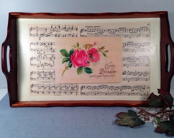 Decoupaged serving tray - Wooden serving tray - Sheet music - Vintage serving tray - Cottage chic tray - Wooden tray - Hand made wood tray