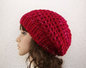 Hand knit hat - chunky knit beanie - red berries color - women's accessories fall fashion winter fashion ready to ship Sandy Coastal Designs