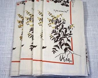 1970's Vera Neumann Cream Brown Red Herb Print Cloth Napkins Garden Gardener