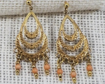 Art Deco Stamped Sterling Silver with Gold Plating Dangle Earrings with Coral Beads Italy