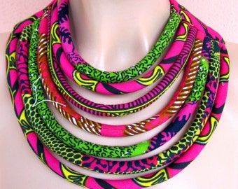 Maasai Multi-strand Necklace - African  hot pink bib colorful  necklace