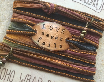 LOVE NEVER FAILS- Boho Silk Wrap Bracelet, Silk Ribbon Bracelet. wrap bracelet. Boho jewelry. Christian jewelry