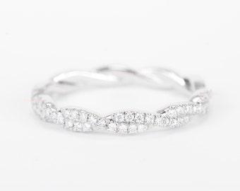 CERTIFIED - E-F, VVS - VS Diamond Wedding Band 14K White Gold