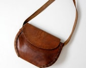 vintage 60s tooled leather bag, hand-crafted hippie purse