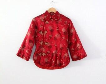 SALE vintage Chinese jacket, red satin brocade shirt coat, cheongsam jacket