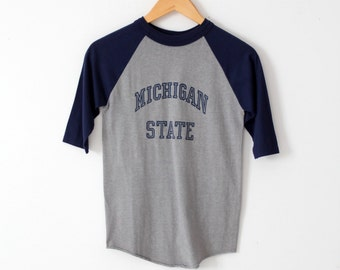 vintage Michigan State t-shirt, 1980s school raglan tee