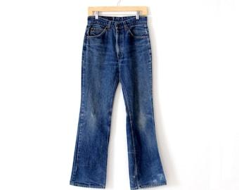 vintage 70s Levi's 517 denim jeans, boot cut fit 30 x 31