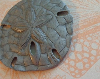 Vintage Sand Dollar Fossil Pendant, Highly Detailed, Fab Patina, Stocking Stuffer for SEA Beach Lover, Beachcomber, Possibly Pewter ARTSY